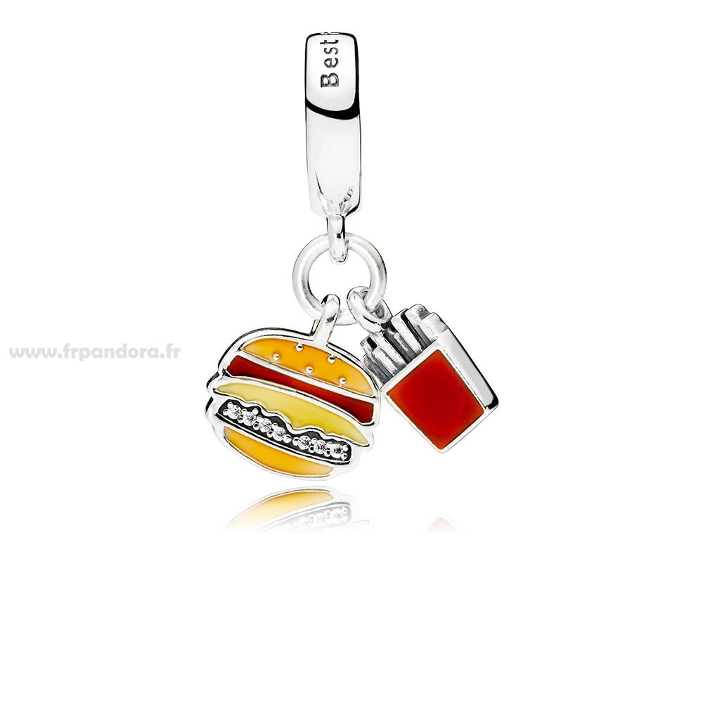 Soldes Burger & Fries Dangle Charms Rouge d'or & Jaune Émail Personnalisé
