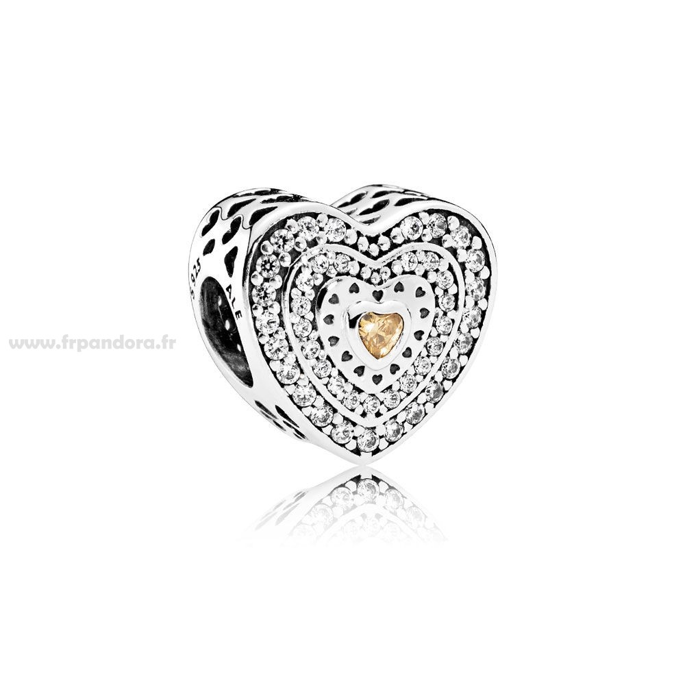 Soldes PANDORA Charms Saint Valentin Charme Coeur luxueux Fancy Coloured Clear CZ Personnalisé
