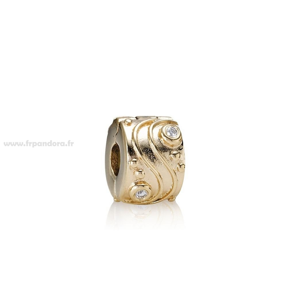Soldes PANDORA Clips Breloques Babbling Brook abstract Or clip diamants Personnalisé