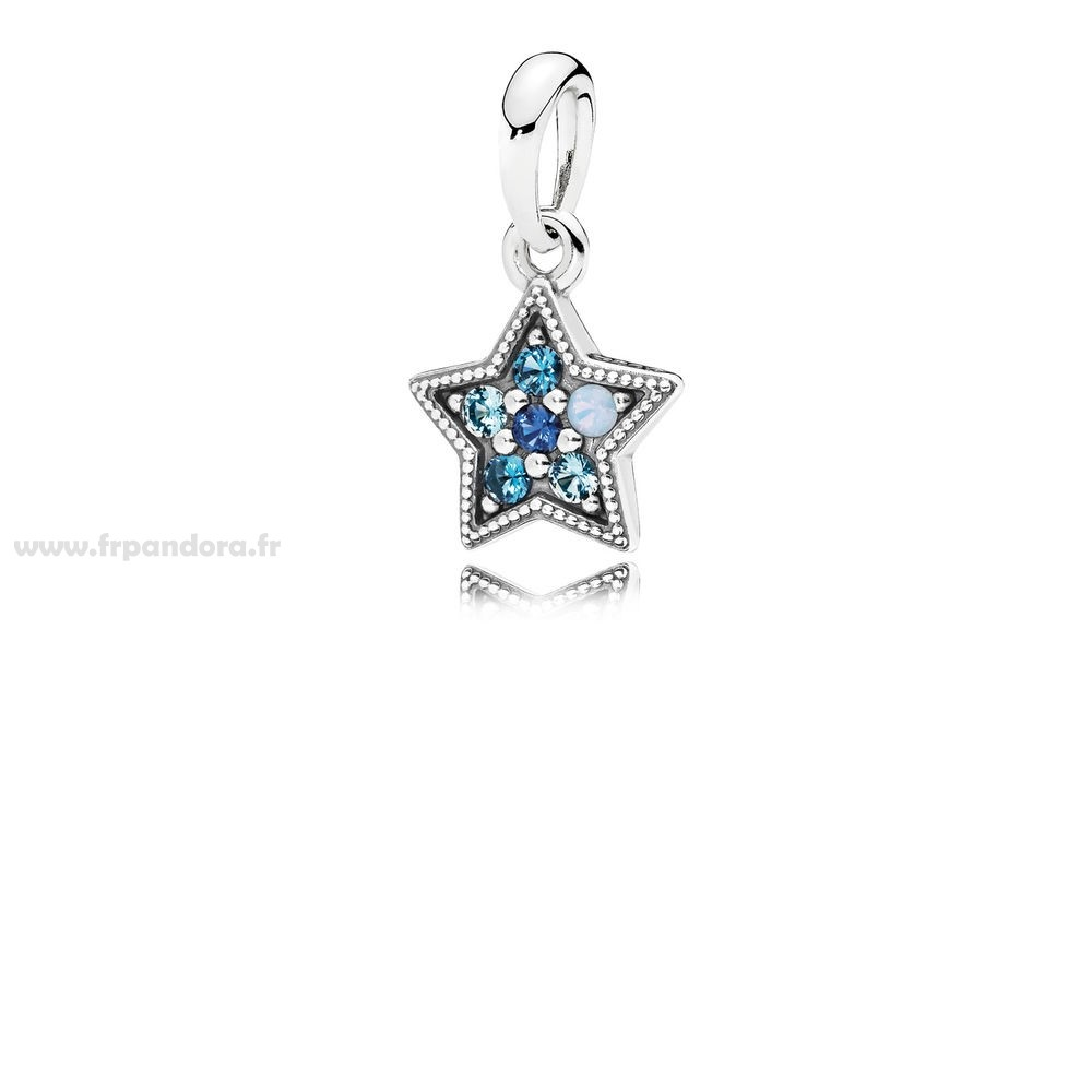 Soldes PANDORA Collection d'Hiver Bright Star Collier Pendentif Multi Coloured Crystals Personnalisé