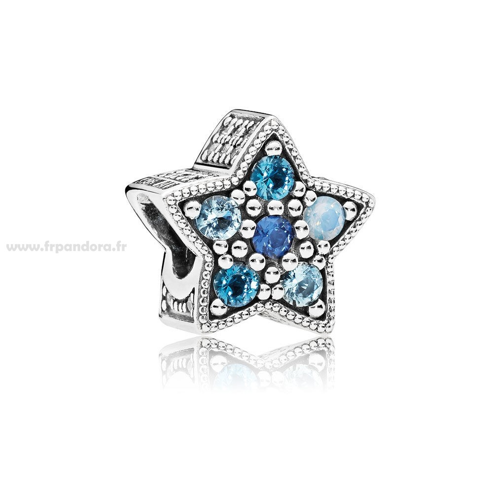 Soldes PANDORA Collection d'hiver Bright Star Charm Multi Coloured Crystals Personnalisé