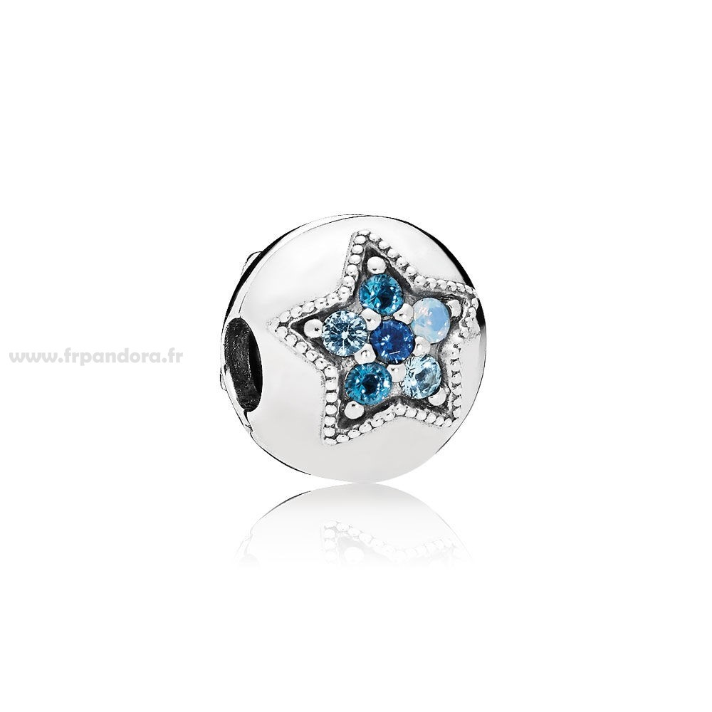 Soldes PANDORA Collection d'hiver Bright Star Clip Multi Coloured Crystals Personnalisé