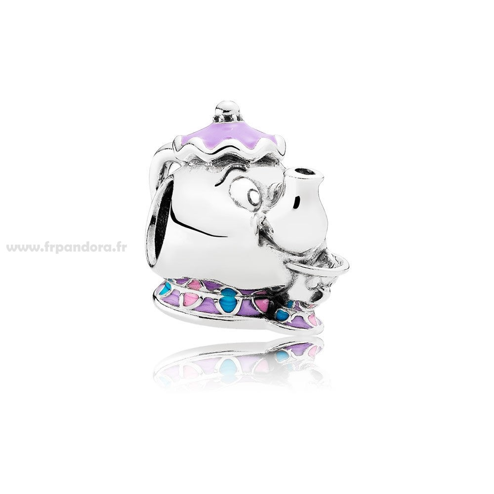 Soldes PANDORA Dangle Charms Disney Mrs. Potts Puce Charme Mixed émail Personnalisé
