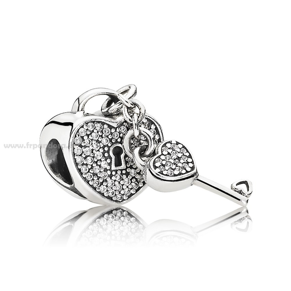 Soldes PANDORA Dangle Lock Of Amour Charm Clear CZ Personnalisé