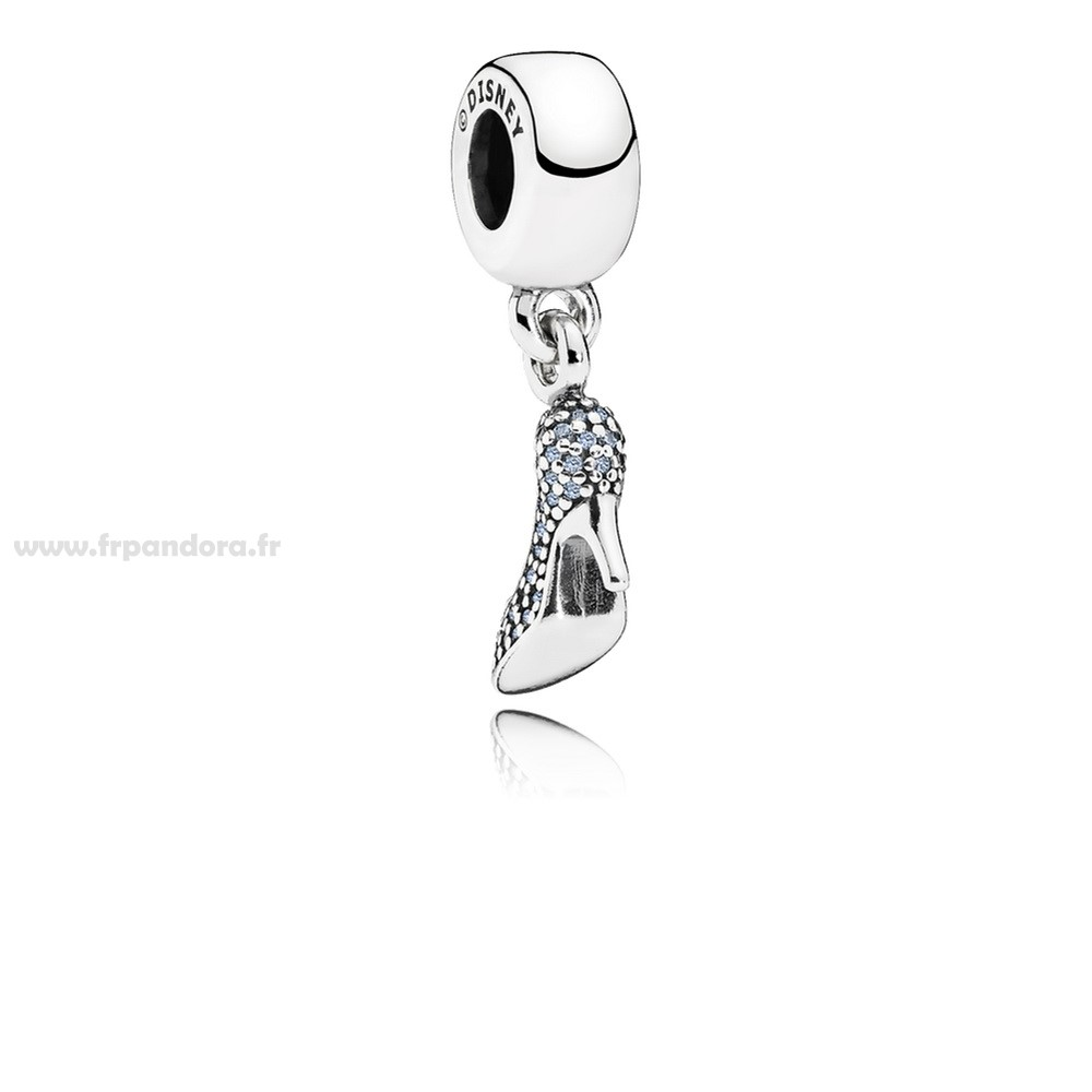 Soldes PANDORA Disney Charms Cendrillon Mousseux Dangle Charm Fancy Light Blue CZ Personnalisé