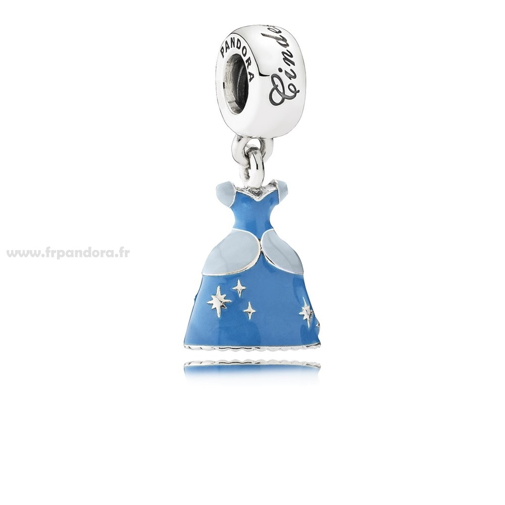 Soldes PANDORA Disney Charms Cendrillon Robe Dangle Charm Mixed Enamel Personnalisé