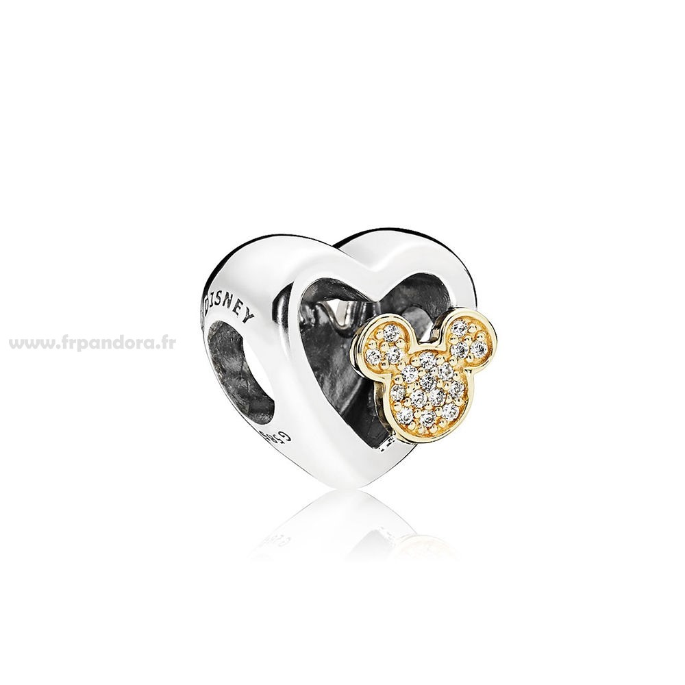 Soldes PANDORA Disney Collection Disney Mickey Minnie Amour Icones Charme Red Clear CZ Personnalisé