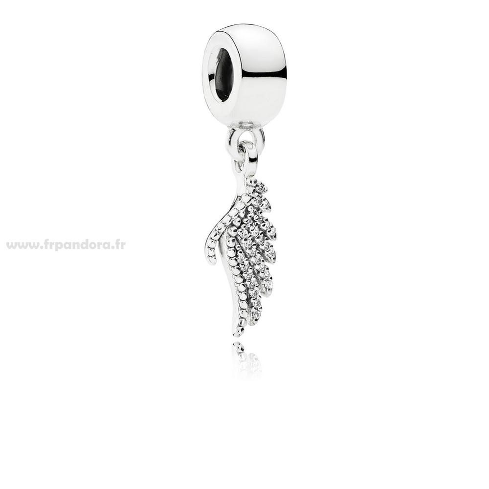 Soldes PANDORA Passions Charms Chic Glamour Majestueux Feather Dangle Charm Clear CZ Personnalisé